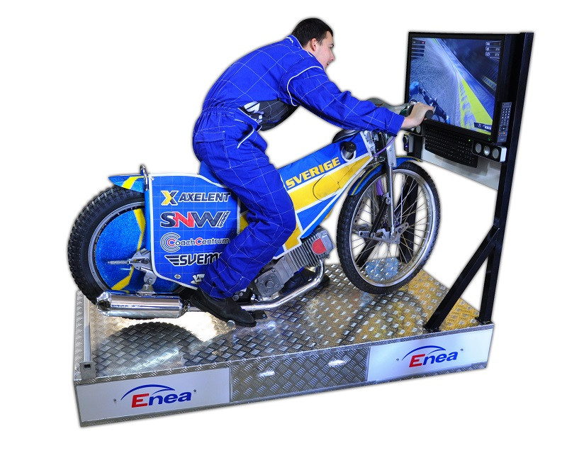 Żużlowy symulator motocykla.